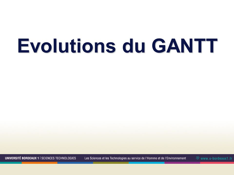 Evolutions du GANTT