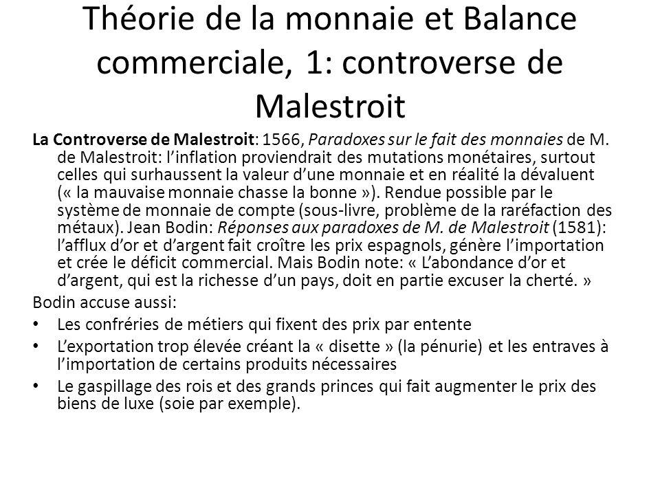 Théorie de la monnaie et Balance commerciale, 1: controverse de Malestroit