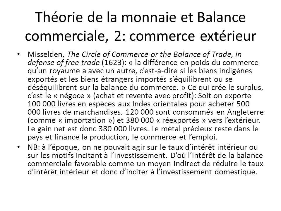 Théorie de la monnaie et Balance commerciale, 2: commerce extérieur