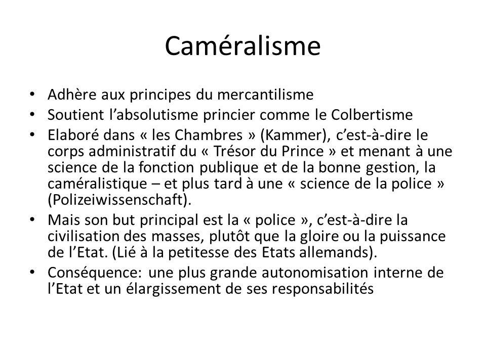 Caméralisme Adhère aux principes du mercantilisme