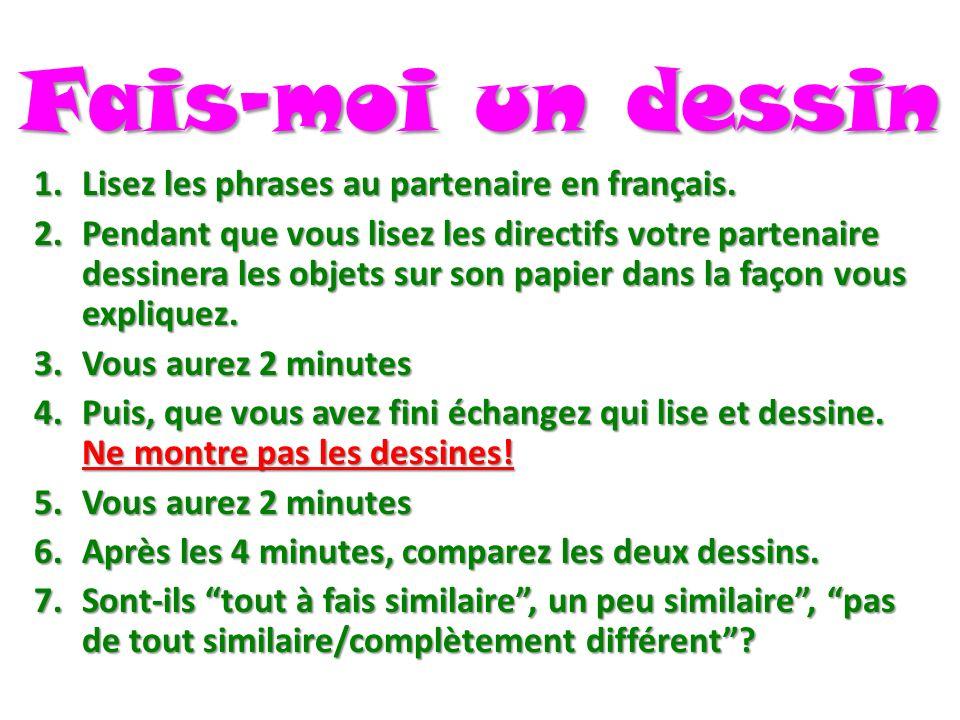 Fais-moi un dessin Lisez les phrases au partenaire en français.