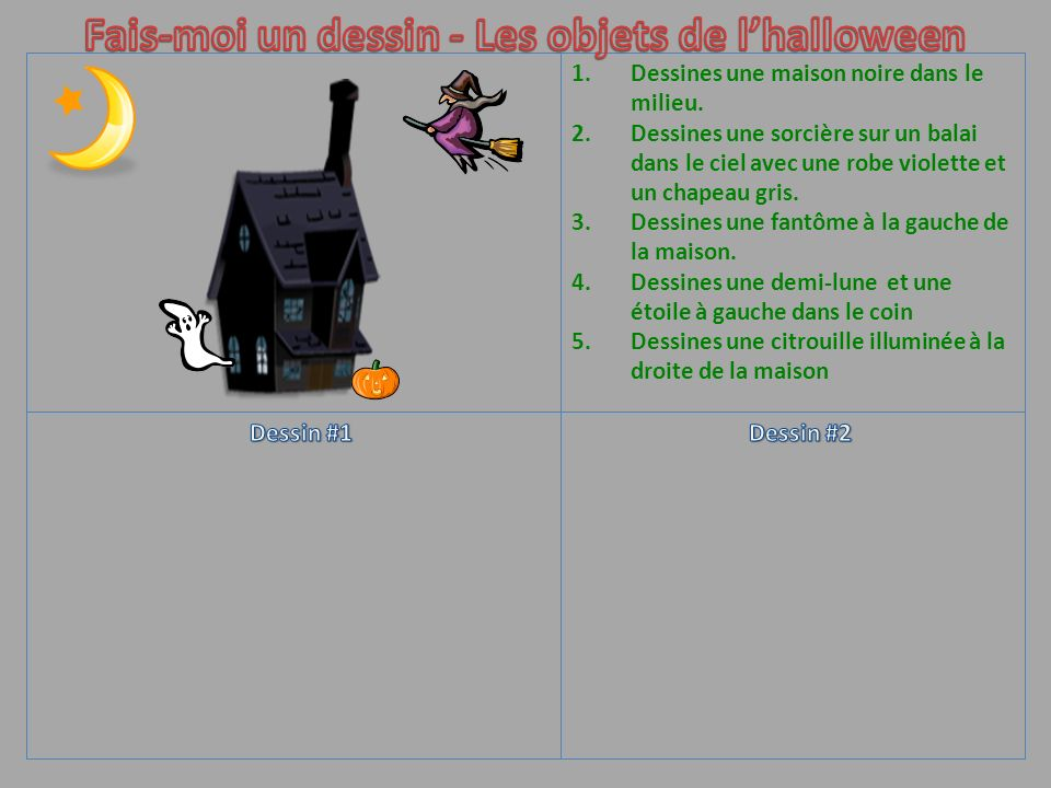 Fais-moi un dessin - Les objets de l'halloween