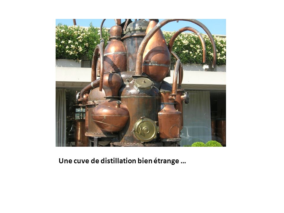 Une cuve de distillation bien étrange …