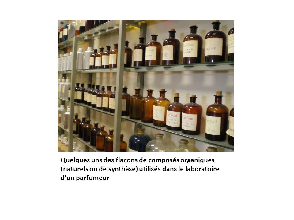 Quelques uns des flacons de composés organiques (naturels ou de synthèse) utilisés dans le laboratoire d'un parfumeur