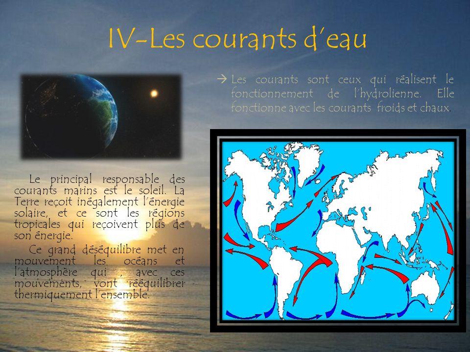 IV-Les courants d'eau Les courants sont ceux qui réalisent le fonctionnement de l'hydrolienne. Elle fonctionne avec les courants froids et chaux.