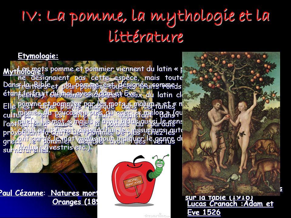 IV: La pomme, la mythologie et la littérature