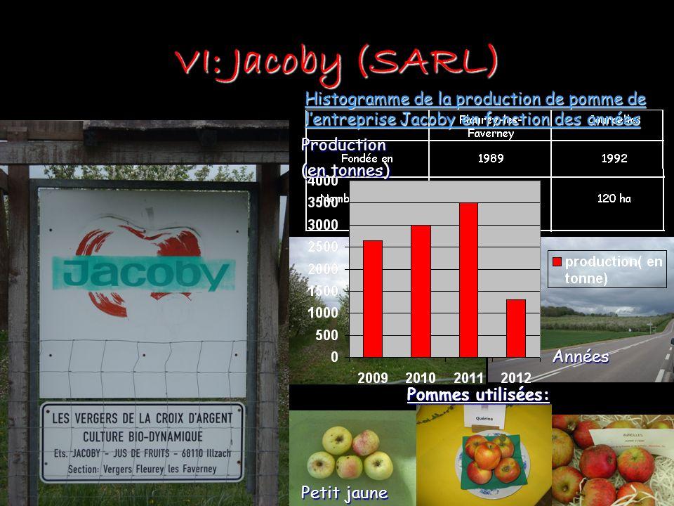 VI: Jacoby (SARL) Histogramme de la production de pomme de l'entreprise Jacoby en fonction des années.