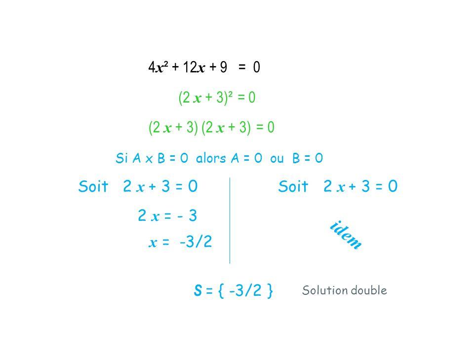 4x² + 12x + 9 = 0 (2 x + 3)² = 0 (2 x + 3) (2 x + 3) = 0