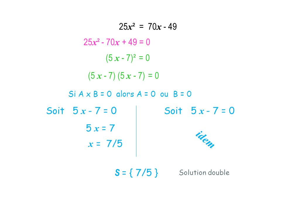 25x² = 70x - 49 25x² - 70x + 49 = 0. (5 x - 7)² = 0. (5 x - 7) (5 x - 7) = 0. Si A x B = 0 alors A = 0 ou B = 0.