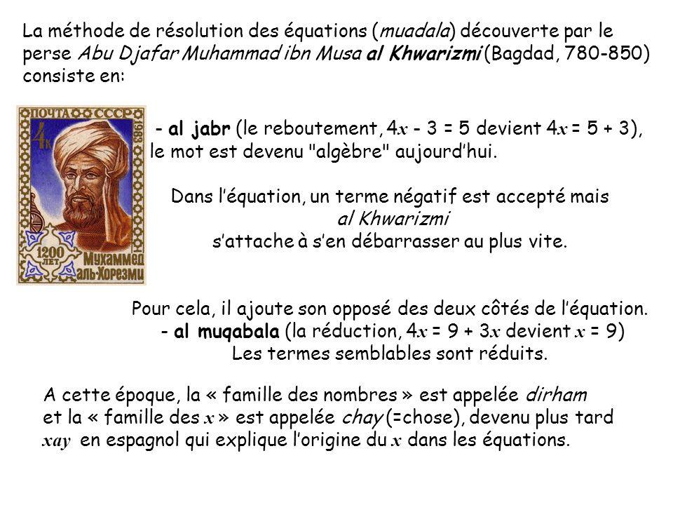 - al jabr (le reboutement, 4x - 3 = 5 devient 4x = 5 + 3),
