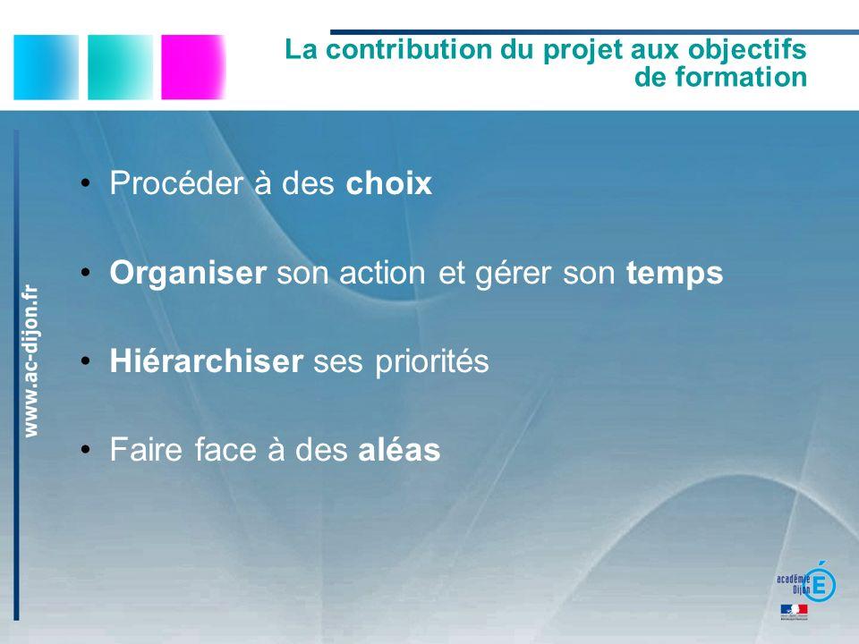 La contribution du projet aux objectifs de formation