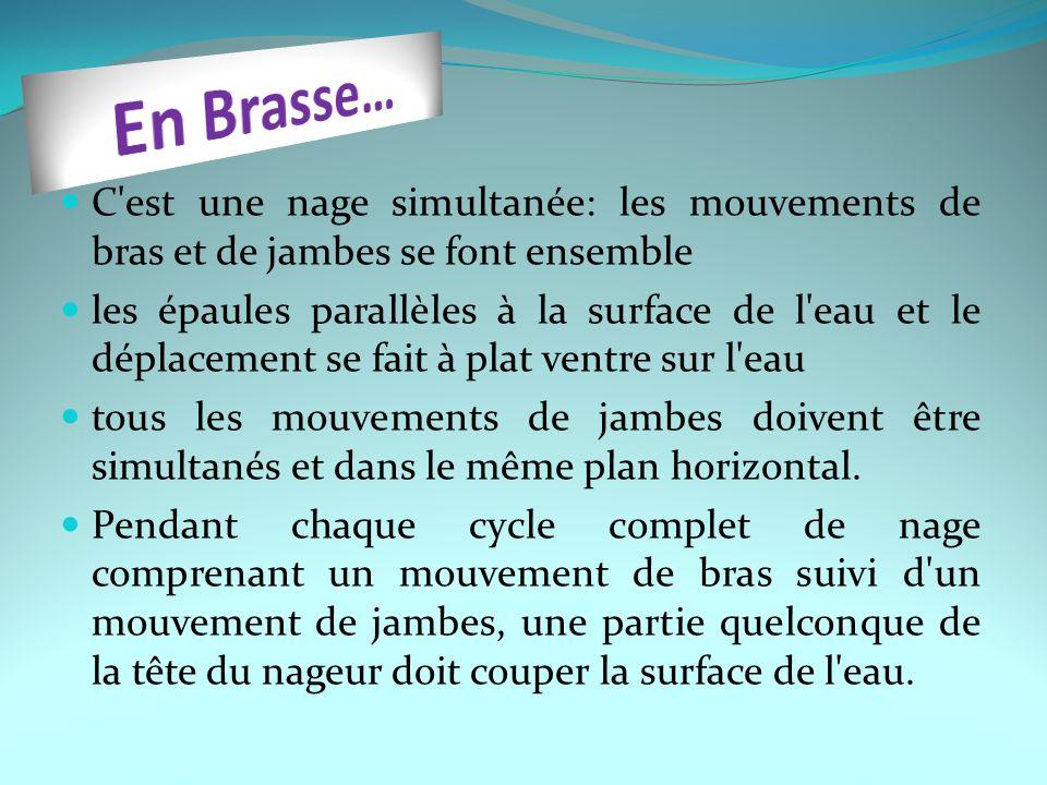 En Brasse… C est une nage simultanée: les mouvements de bras et de jambes se font ensemble.