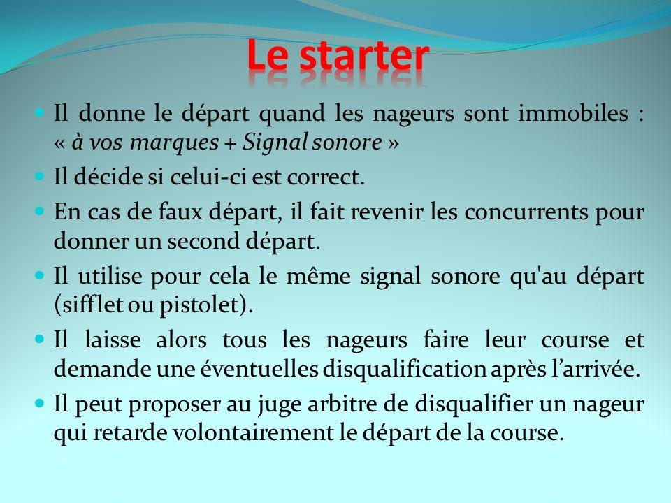 Le starter Il donne le départ quand les nageurs sont immobiles : « à vos marques + Signal sonore » Il décide si celui-ci est correct.