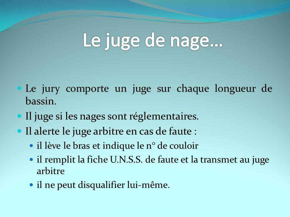 Le juge de nage… Le jury comporte un juge sur chaque longueur de bassin. Il juge si les nages sont réglementaires.