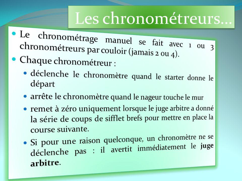 Les chronométreurs… Le chronométrage manuel se fait avec 1 ou 3 chronométreurs par couloir (jamais 2 ou 4).