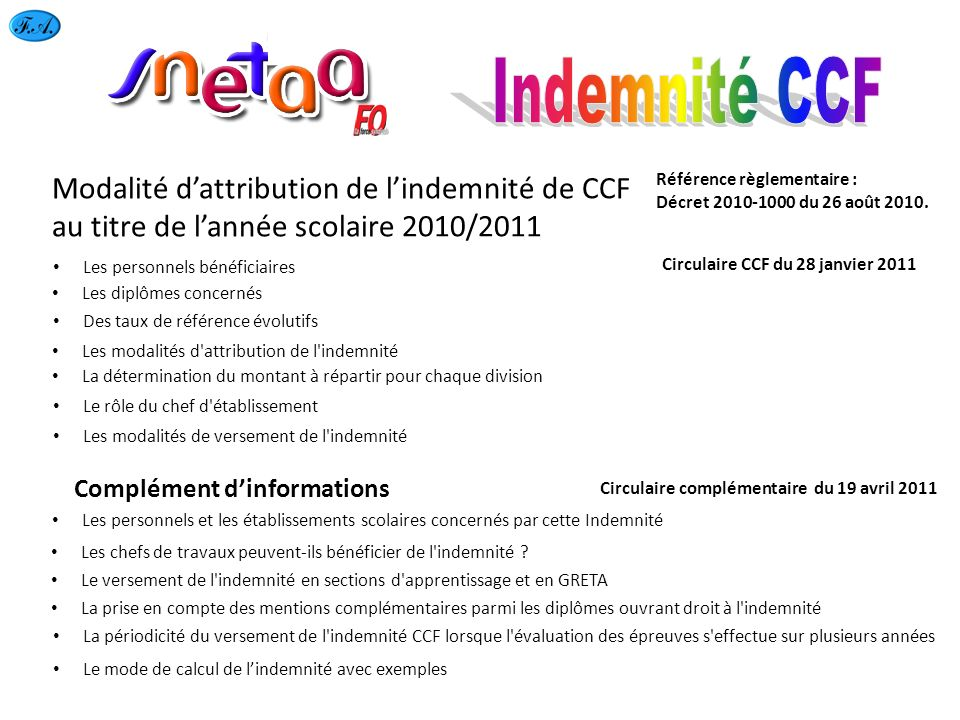 Indemnité CCF Modalité d'attribution de l'indemnité de CCF