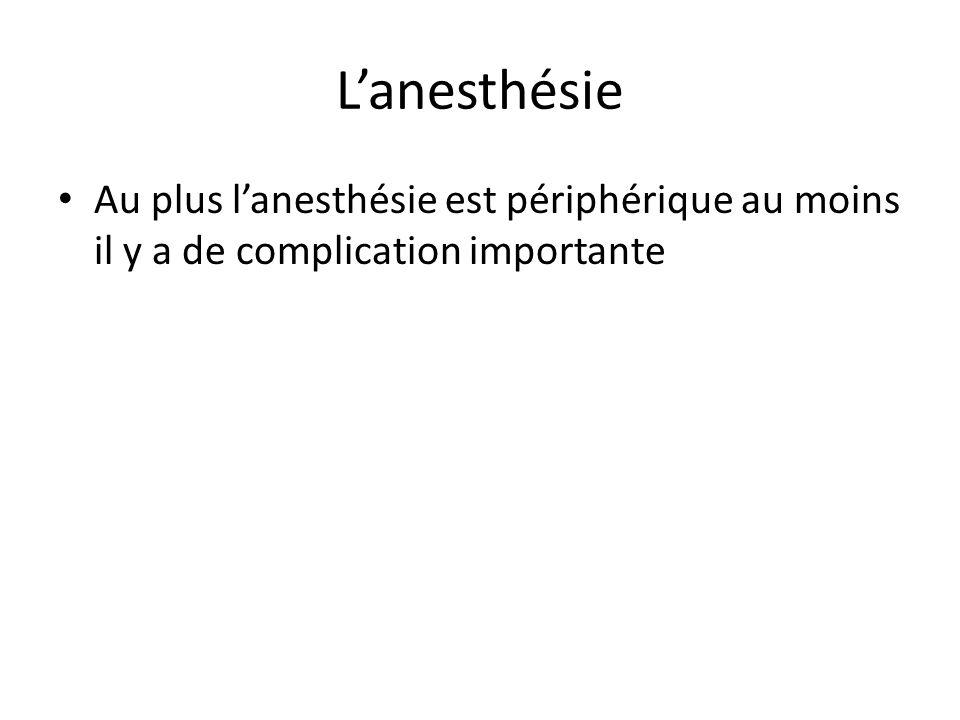 L'anesthésie Au plus l'anesthésie est périphérique au moins il y a de complication importante