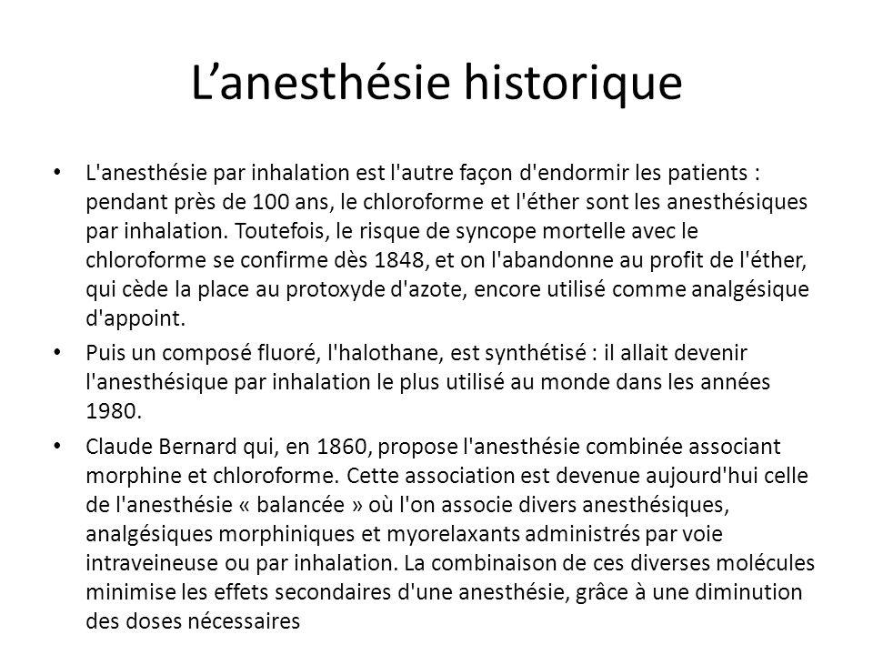 L'anesthésie historique