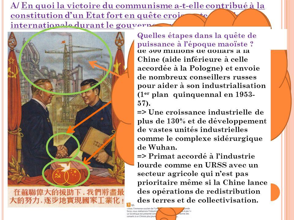 A/ En quoi la victoire du communisme a-t-elle contribué à la constitution d'un Etat fort en quête croissante de puissance internationale durant le gouvernement de Mao (1949-1976)