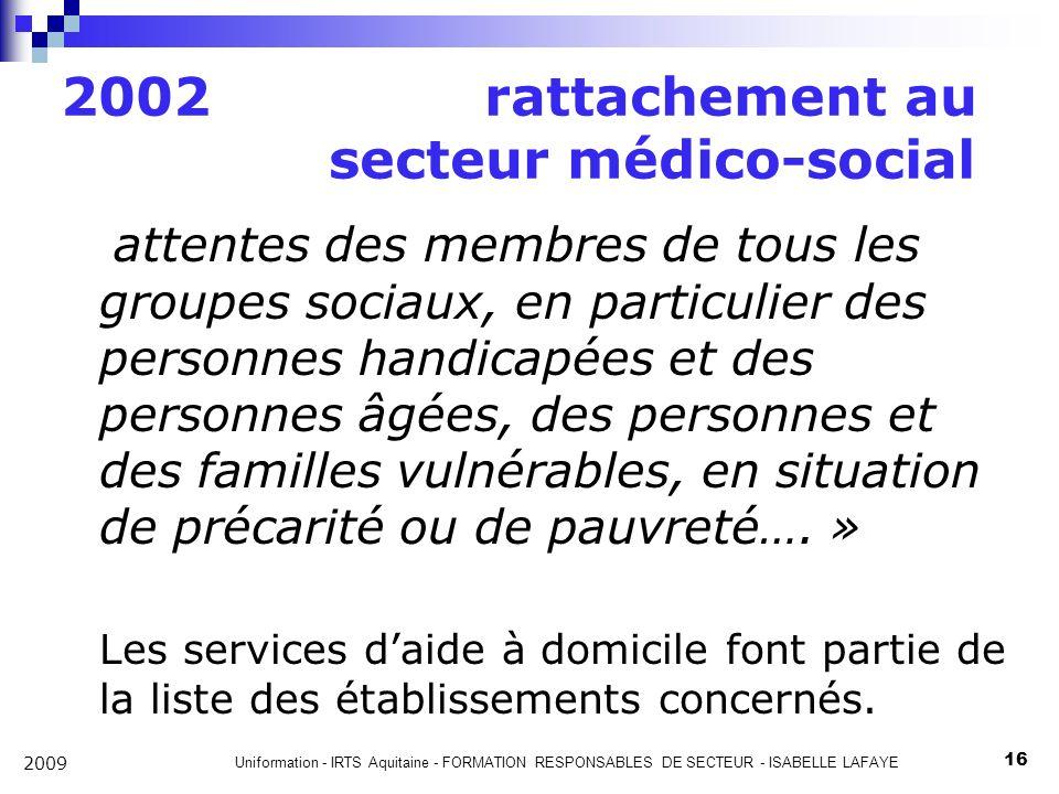 2002 rattachement au secteur médico-social