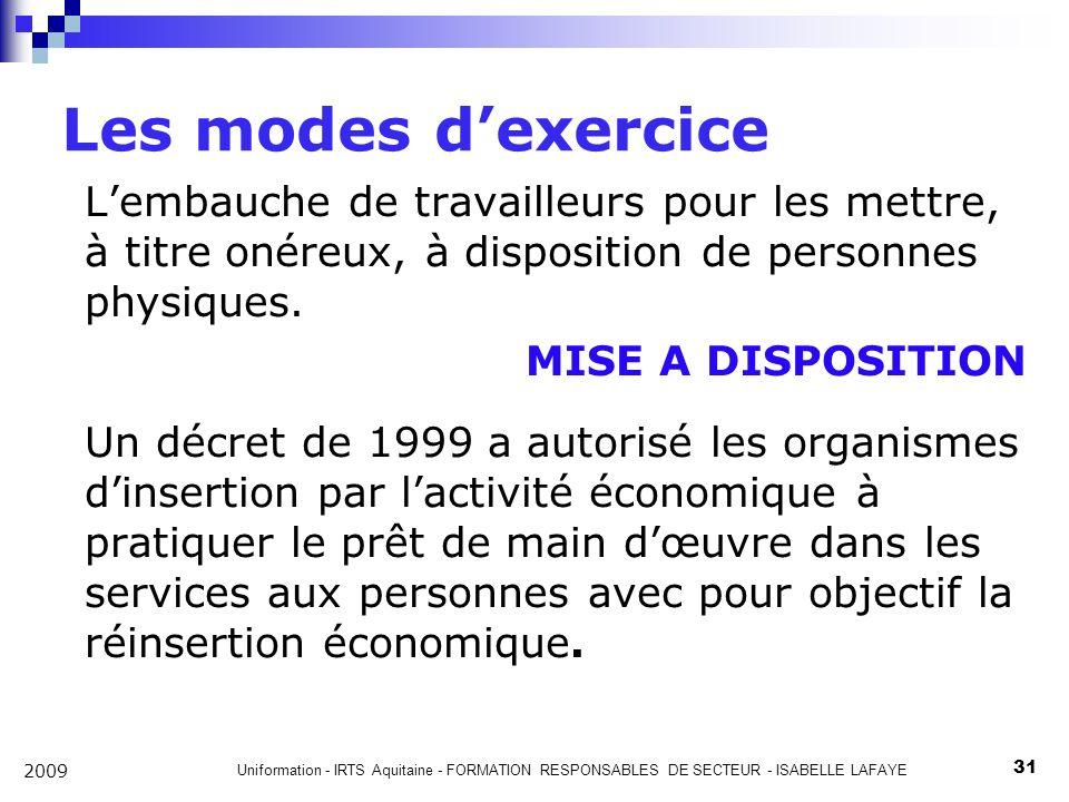 Les modes d'exercice L'embauche de travailleurs pour les mettre, à titre onéreux, à disposition de personnes physiques.