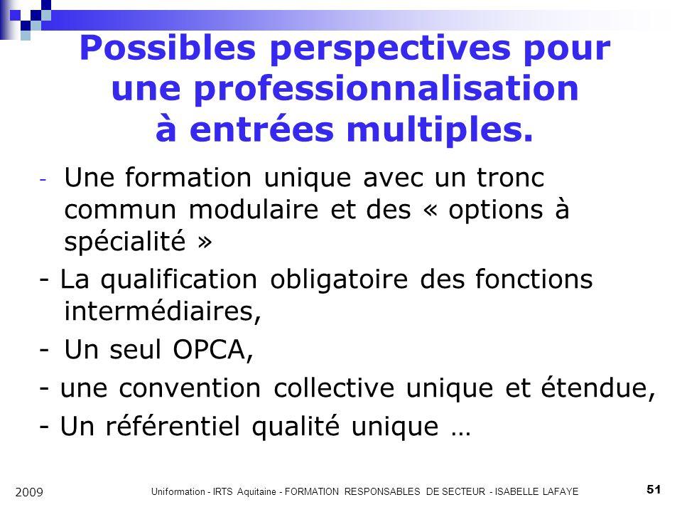 Possibles perspectives pour une professionnalisation à entrées multiples.
