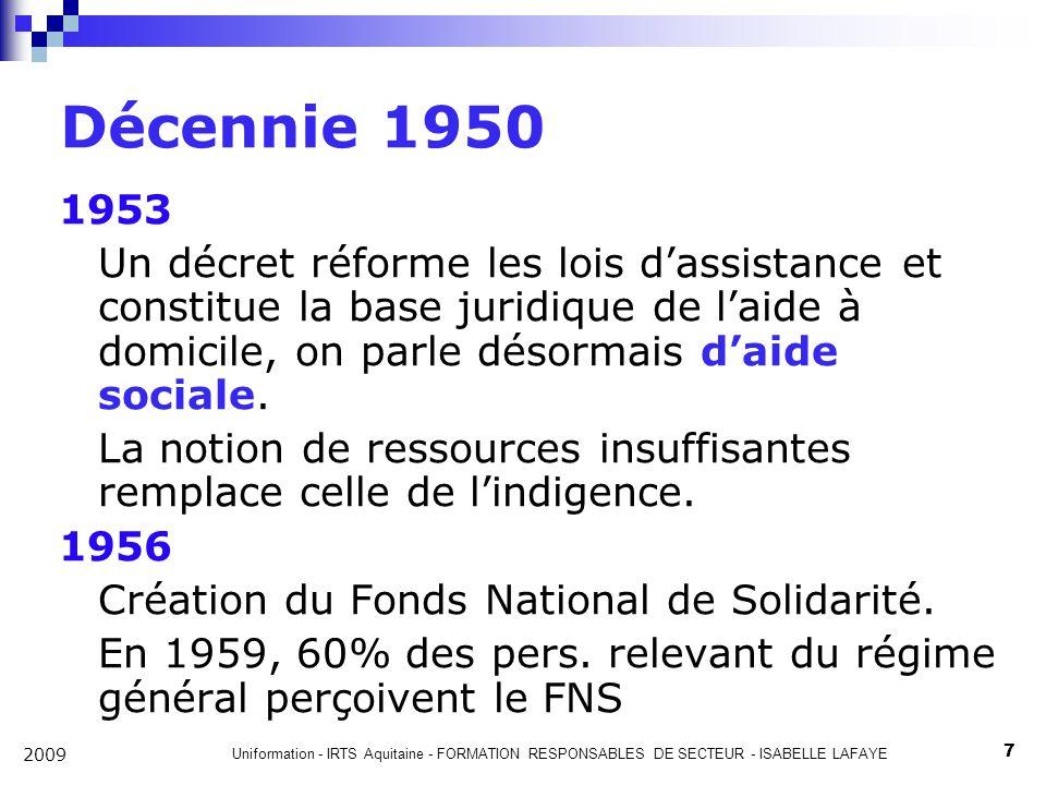 Décennie 1950 1953. Un décret réforme les lois d'assistance et constitue la base juridique de l'aide à domicile, on parle désormais d'aide sociale.