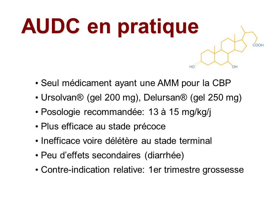 AUDC en pratique Seul médicament ayant une AMM pour la CBP