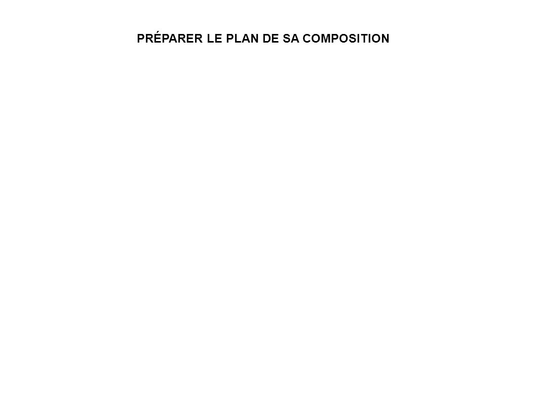 PRÉPARER LE PLAN DE SA COMPOSITION