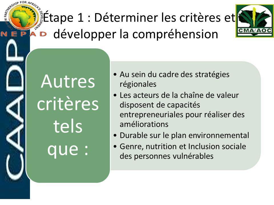 Étape 1 : Déterminer les critères et développer la compréhension
