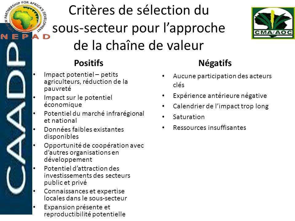 Critères de sélection du sous-secteur pour l'approche de la chaîne de valeur