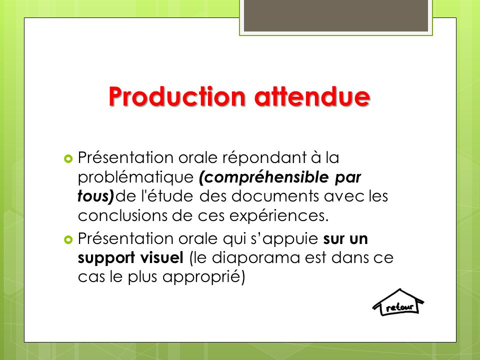 Production attendue