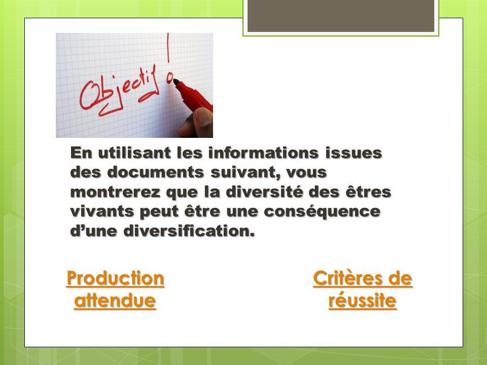 Production attendue Critères de réussite