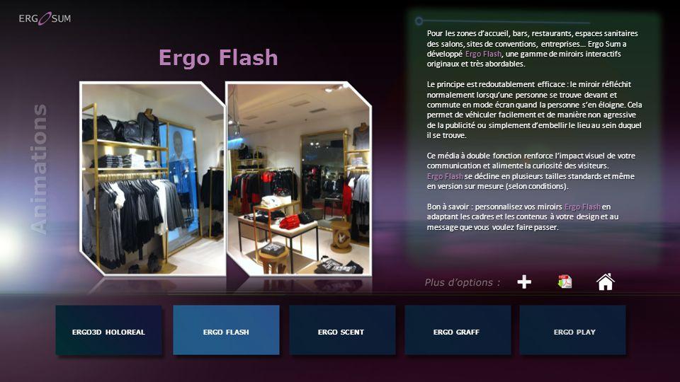 Pour les zones d'accueil, bars, restaurants, espaces sanitaires des salons, sites de conventions, entreprises… Ergo Sum a développé Ergo Flash, une gamme de miroirs interactifs originaux et très abordables.