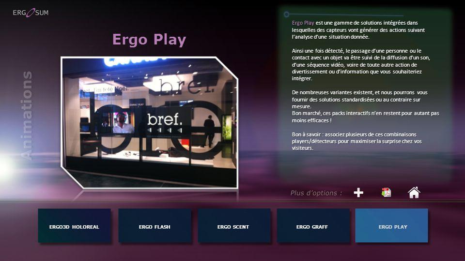 Ergo Play est une gamme de solutions intégrées dans lesquelles des capteurs vont générer des actions suivant l'analyse d'une situation donnée.