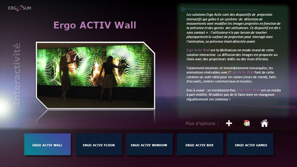 Ergo ACTIV Wall Interactivité
