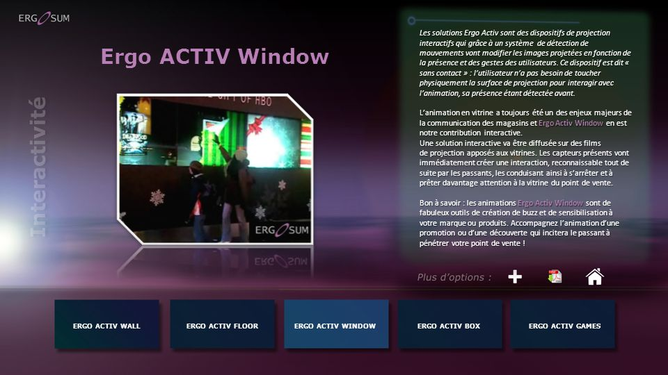 Ergo ACTIV Window Interactivité