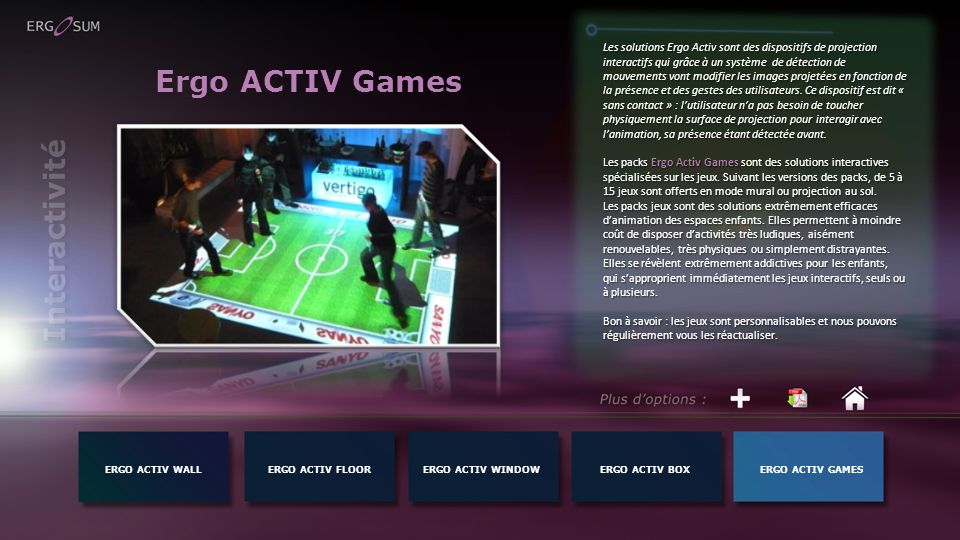 Ergo ACTIV Games Interactivité