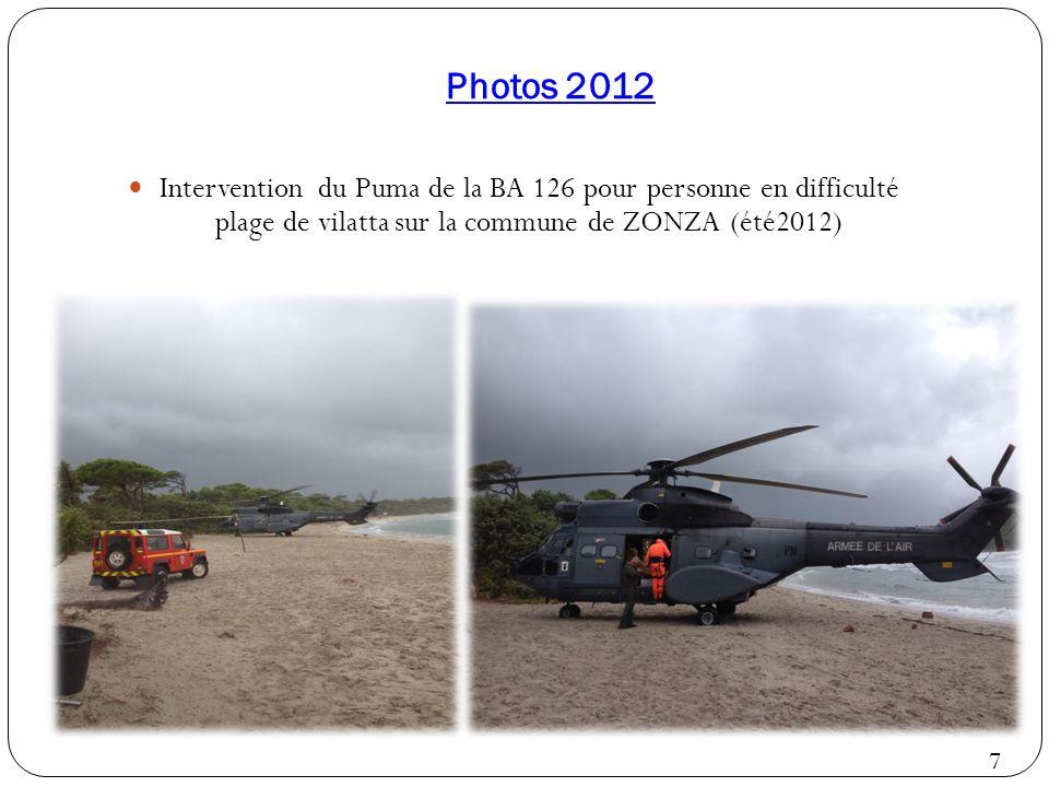 Photos 2012 Intervention du Puma de la BA 126 pour personne en difficulté plage de vilatta sur la commune de ZONZA (été2012)