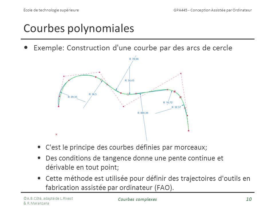 Courbes polynomiales Exemple: Construction d une courbe par des arcs de cercle. C est le principe des courbes définies par morceaux;