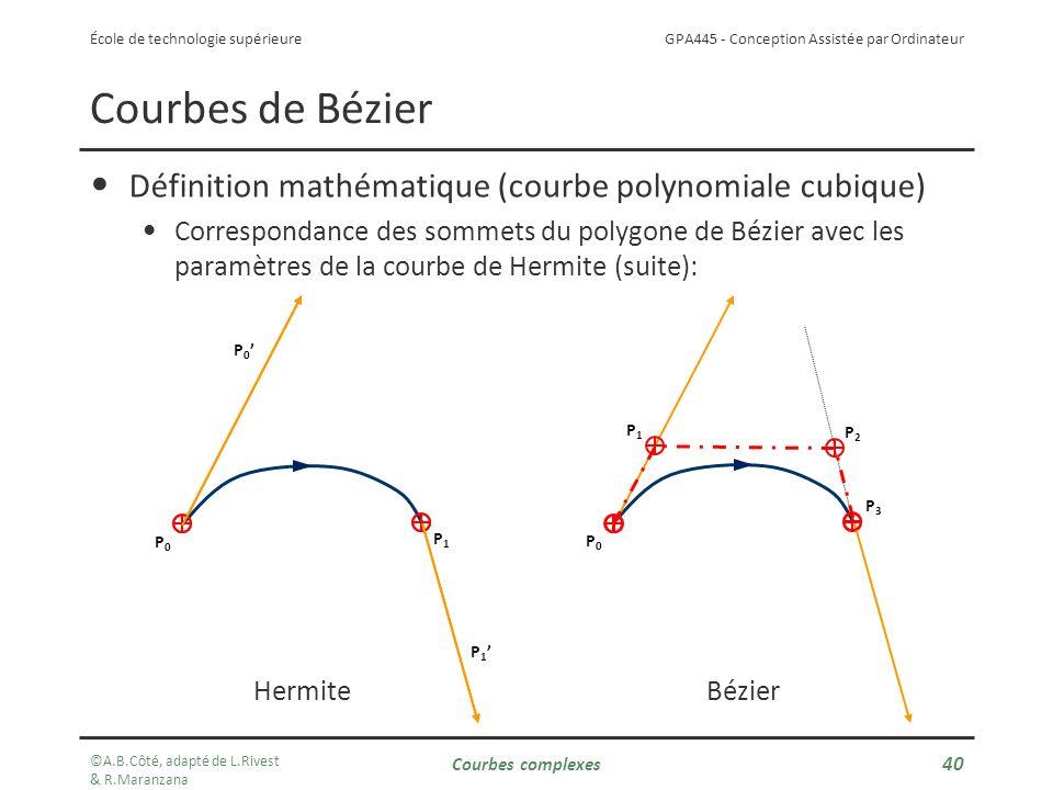Courbes de Bézier Définition mathématique (courbe polynomiale cubique)
