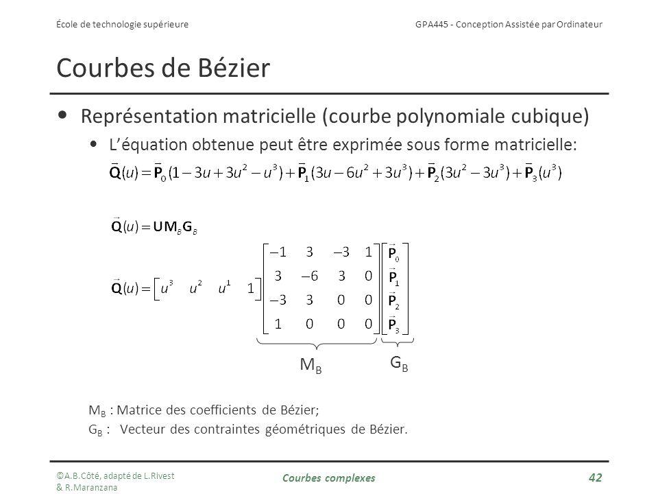 Courbes de Bézier Représentation matricielle (courbe polynomiale cubique) L'équation obtenue peut être exprimée sous forme matricielle: