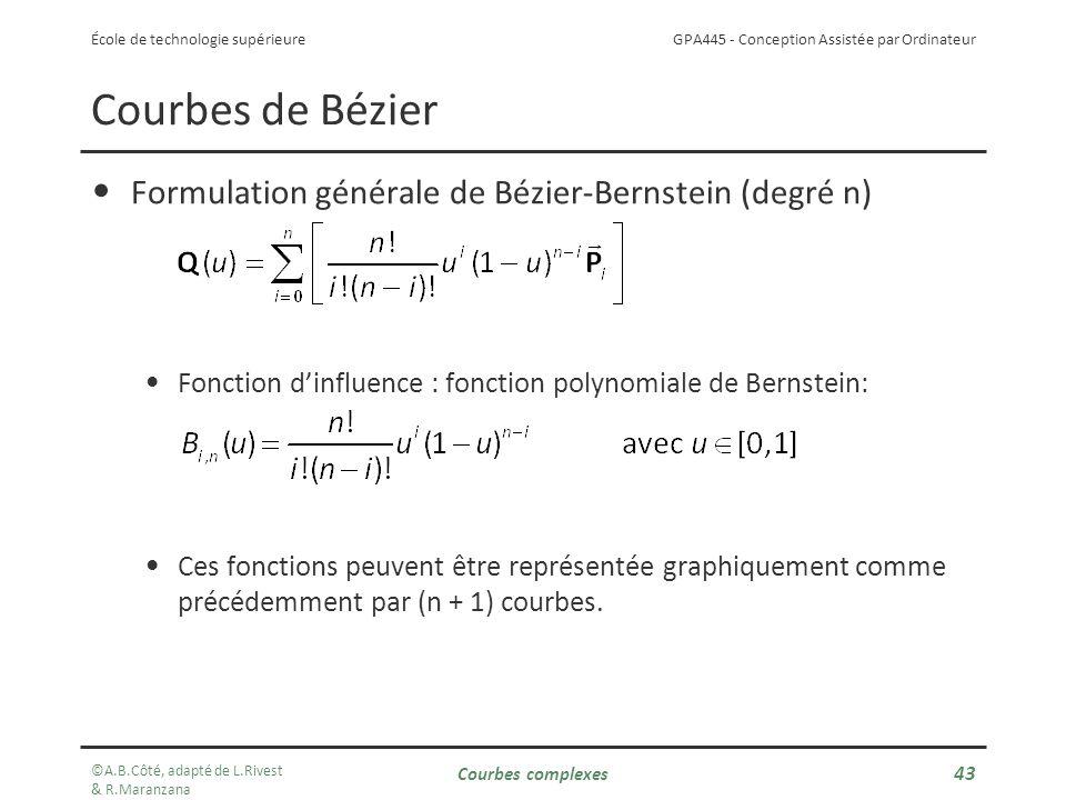 Courbes de Bézier Formulation générale de Bézier-Bernstein (degré n)