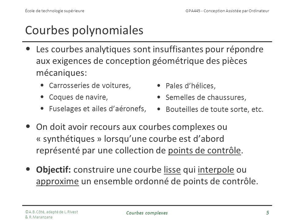 Courbes polynomiales Les courbes analytiques sont insuffisantes pour répondre aux exigences de conception géométrique des pièces mécaniques: