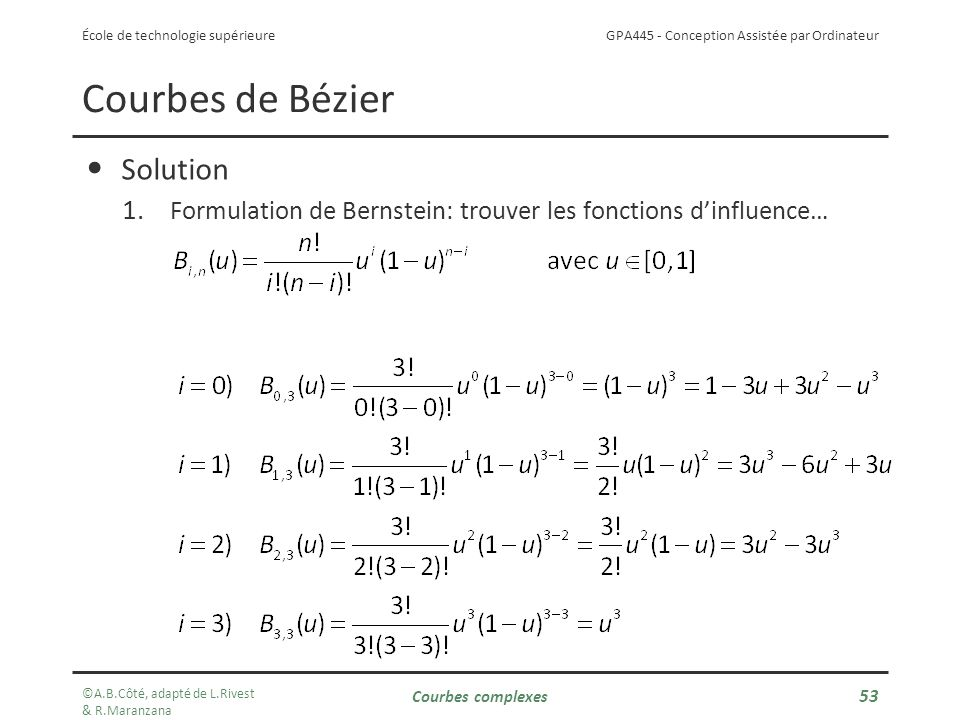 Courbes de Bézier Solution