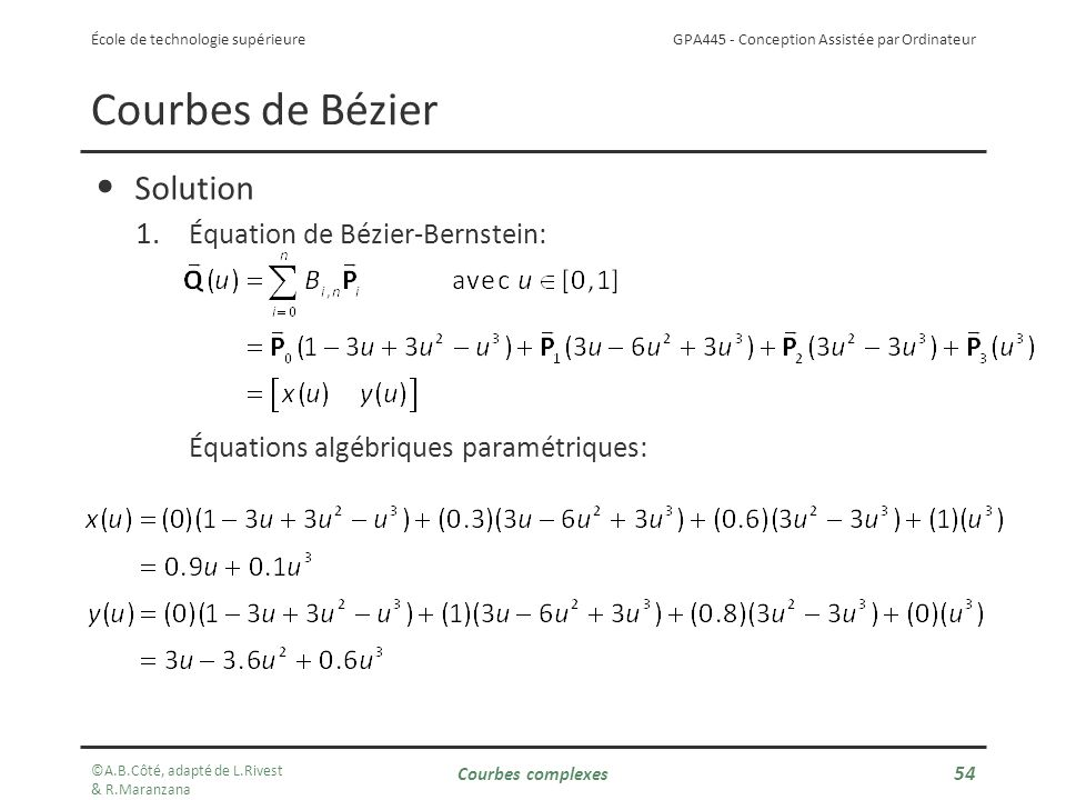 Courbes de Bézier Solution Équation de Bézier-Bernstein: