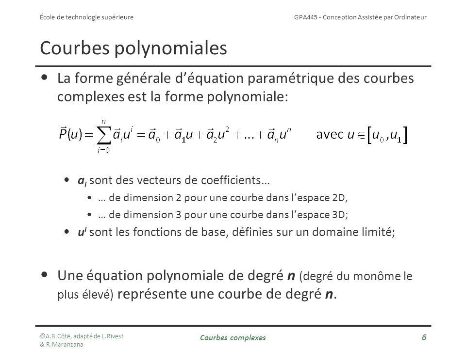 Courbes polynomiales La forme générale d'équation paramétrique des courbes complexes est la forme polynomiale: