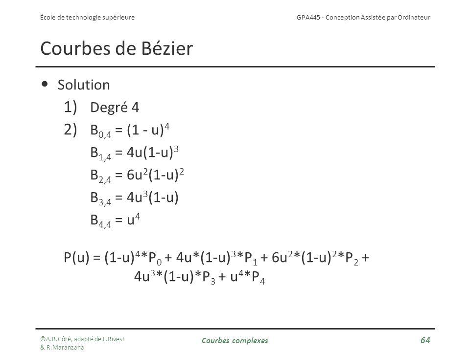 Courbes de Bézier Solution Degré 4 B0,4 = (1 - u)4 B1,4 = 4u(1-u)3