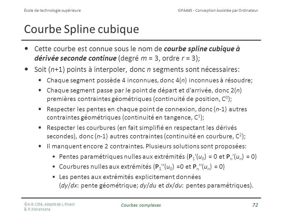 Courbe Spline cubique Cette courbe est connue sous le nom de courbe spline cubique à dérivée seconde continue (degré m = 3, ordre r = 3);