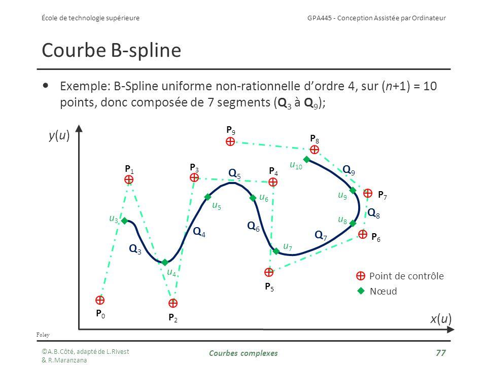 Courbe B-spline Exemple: B-Spline uniforme non-rationnelle d'ordre 4, sur (n+1) = 10 points, donc composée de 7 segments (Q3 à Q9);